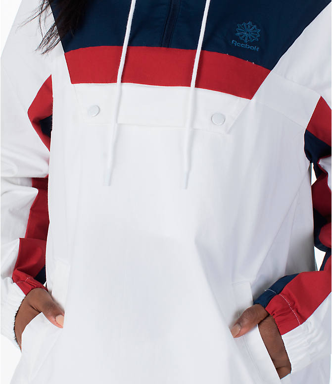 Detail 2 view of Women's Reebok Classics Cotton Anorak Sweatshirt in White/Navy/Red