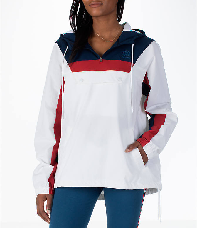 Front view of Women's Reebok Classics Cotton Anorak Sweatshirt in White/Navy/Red