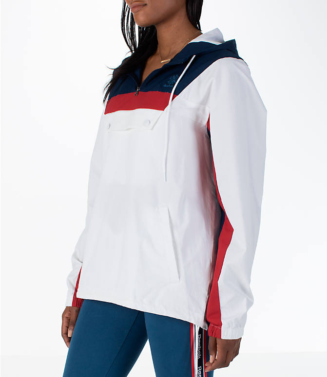 Front Three Quarter view of Women's Reebok Classics Cotton Anorak Sweatshirt in White/Navy/Red
