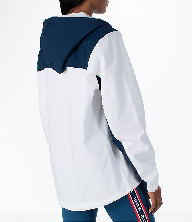Back Right view of Women's Reebok Classics Cotton Anorak Sweatshirt in White/Navy/Red