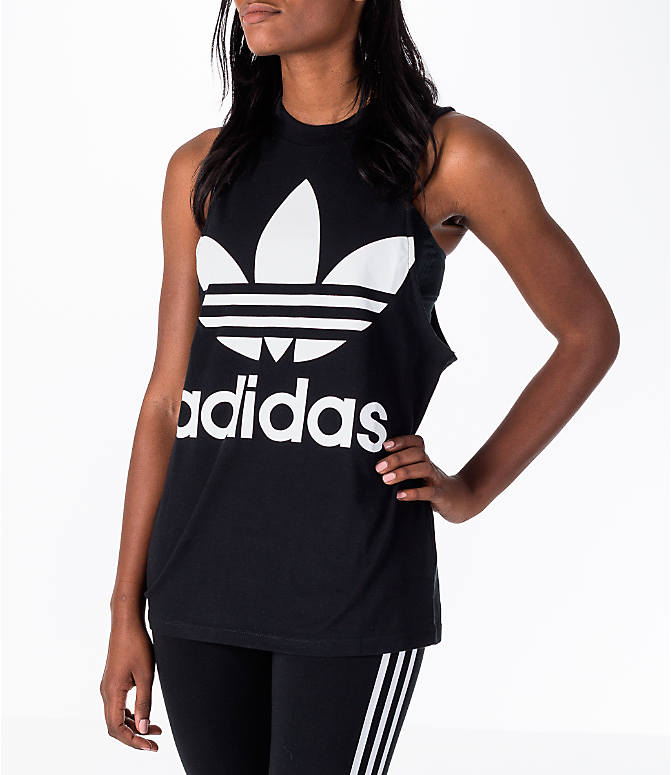 Front view of Women's adidas Originals Trefoil Muscle Tank in Black/White