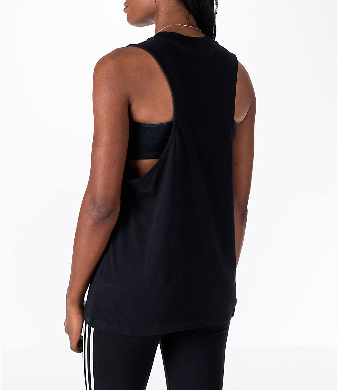 Back Left view of Women's adidas Originals Trefoil Muscle Tank in Black/White