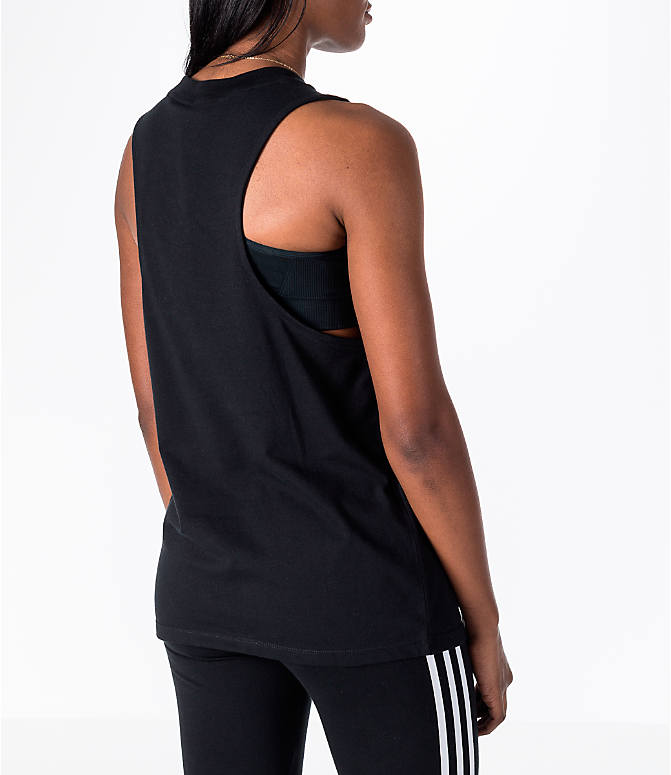 Back Right view of Women's adidas Originals Trefoil Muscle Tank in Black/White