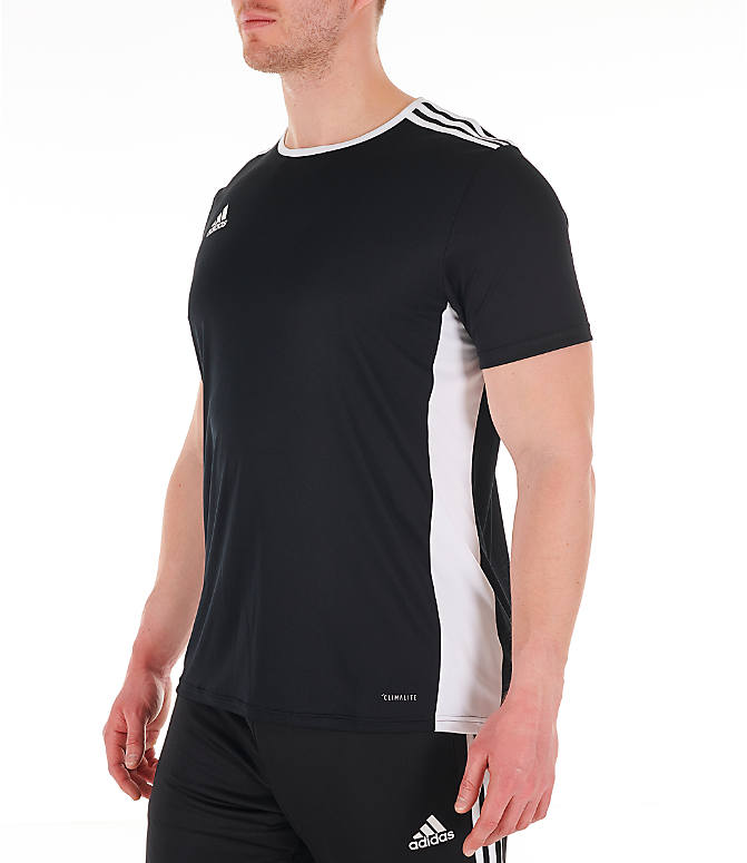 Front Three Quarter view of Men's adidas Entrada18 Soccer Jersey in Black