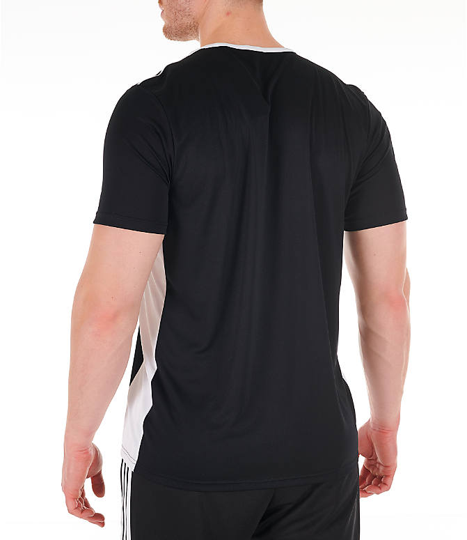 Back Left view of Men's adidas Entrada18 Soccer Jersey in Black