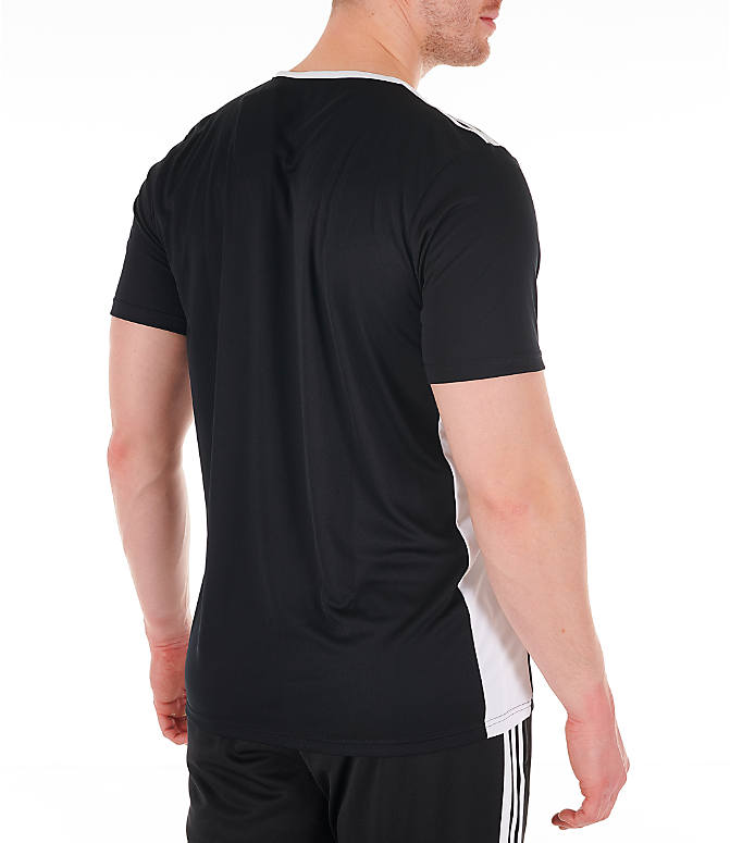 Back Right view of Men's adidas Entrada18 Soccer Jersey in Black