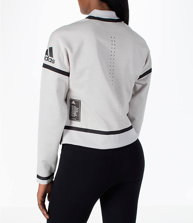 Back Left view of Women's adidas Athletics ZNE Reversible Bomber Jacket in Chalk  Pearl