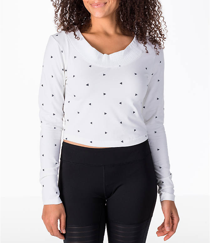 Front view of Women's Reebok Classics Arrow Athletic Cropped T-Shirt in White