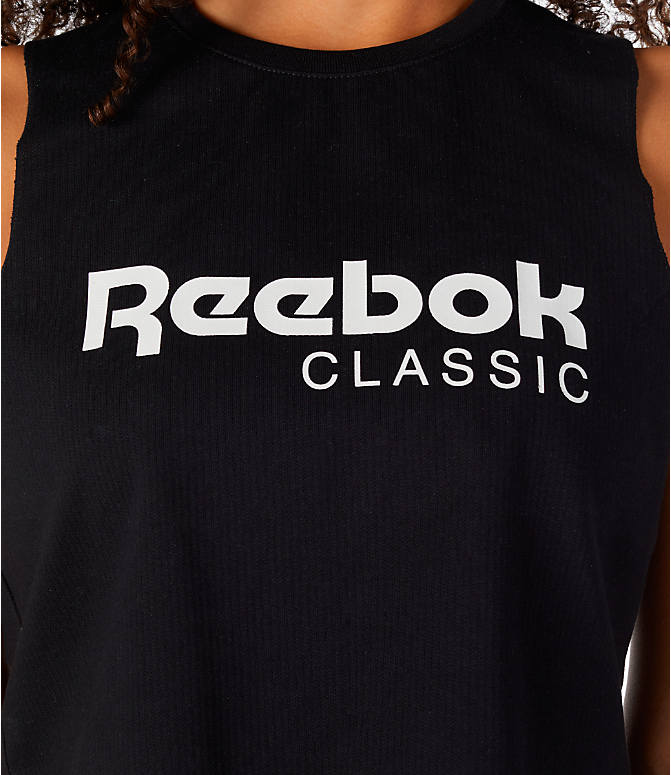 Detail 1 view of Women's Reebok Classics Graphic Cropped Tank in Black/White