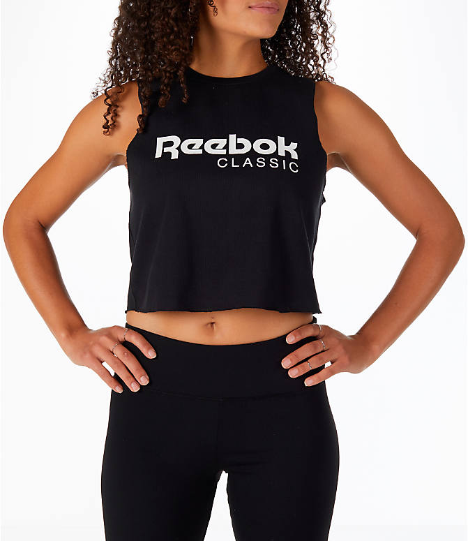 Front view of Women's Reebok Classics Graphic Cropped Tank in Black/White