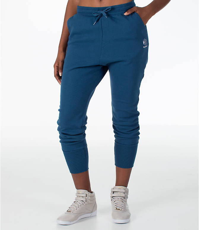 Front view of Women's Reebok Classics Casual Jogger Sweatpants in Royal Blue