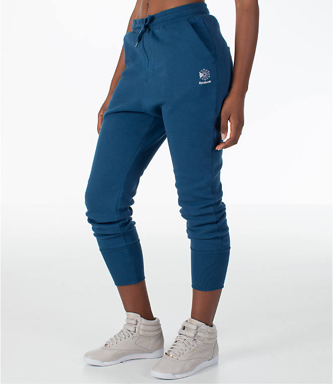 Front Three Quarter view of Women's Reebok Classics Casual Jogger Sweatpants in Royal Blue