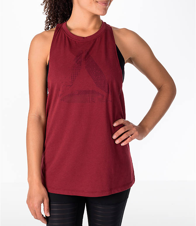 Front view of Women's Reebok Delta Burnout Tank in Red