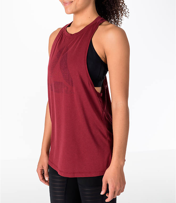 Front Three Quarter view of Women's Reebok Delta Burnout Tank in Red