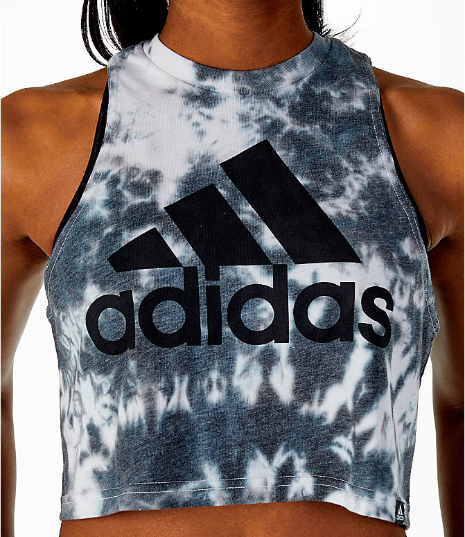 Detail 1 view of Women's adidas Tie-Dye Crop Tank in Tie-Dye/Black
