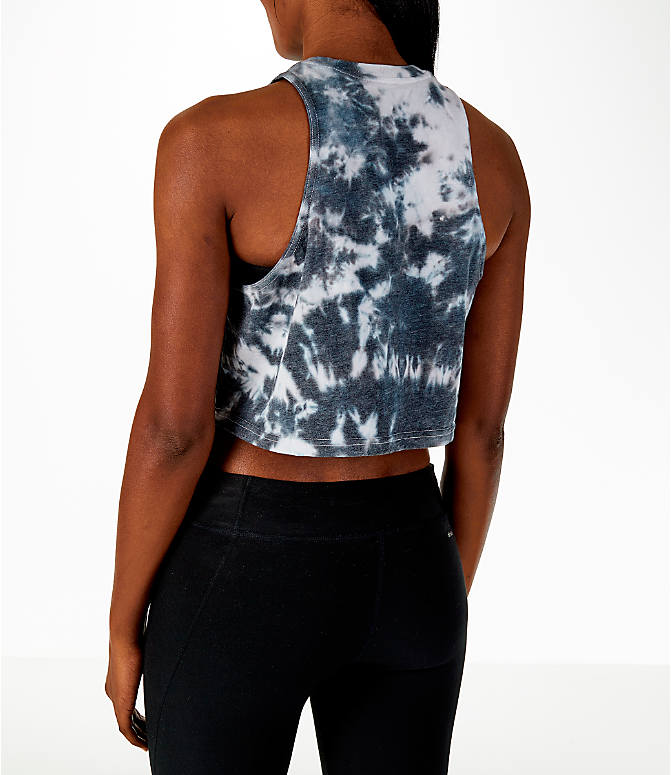 Back Left view of Women's adidas Tie-Dye Crop Tank in Tie-Dye/Black