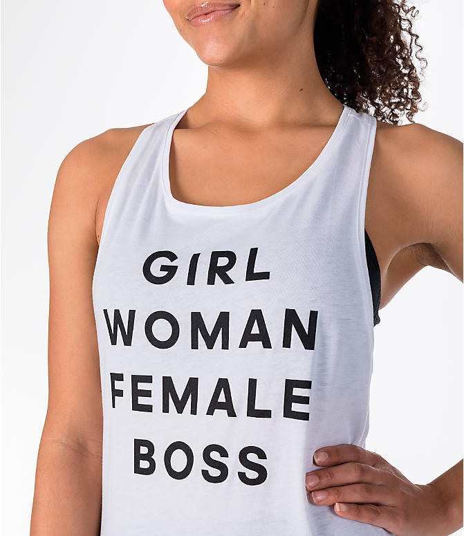 Detail 1 view of Women's adidas Girl Woman Female Boss Tank in White/Black