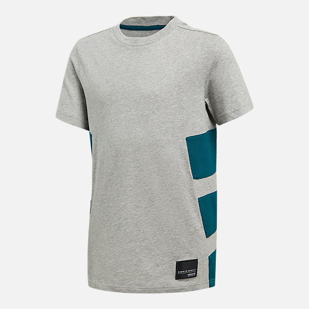Front view of Boys' adidas Originals Equipment T-Shirt in Grey Heather