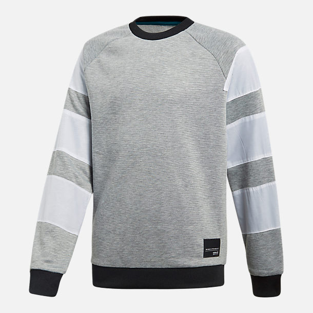 Front view of Boys' adidas Originals EQT Crew Sweatshirt in Grey Heather