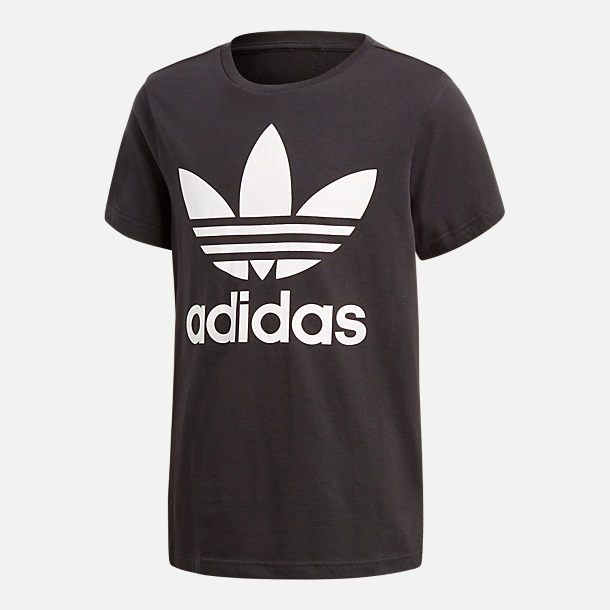Front view of Kids' adidas Originals Trefoil T-Shirt in Black/White
