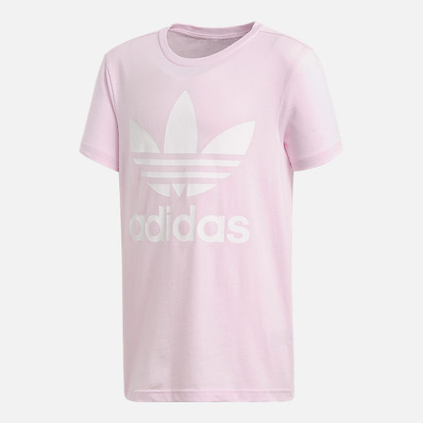 Front view of Girls' adidas Originals Trefoil T-Shirt in Pink/White