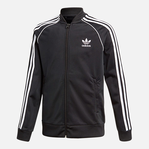 Front view of Boys  adidas Originals Superstar Track Jacket in Black White 43008d5e5