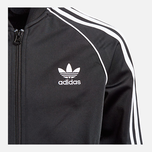 Back view of Boys' adidas Originals Superstar Track Jacket in Black/White