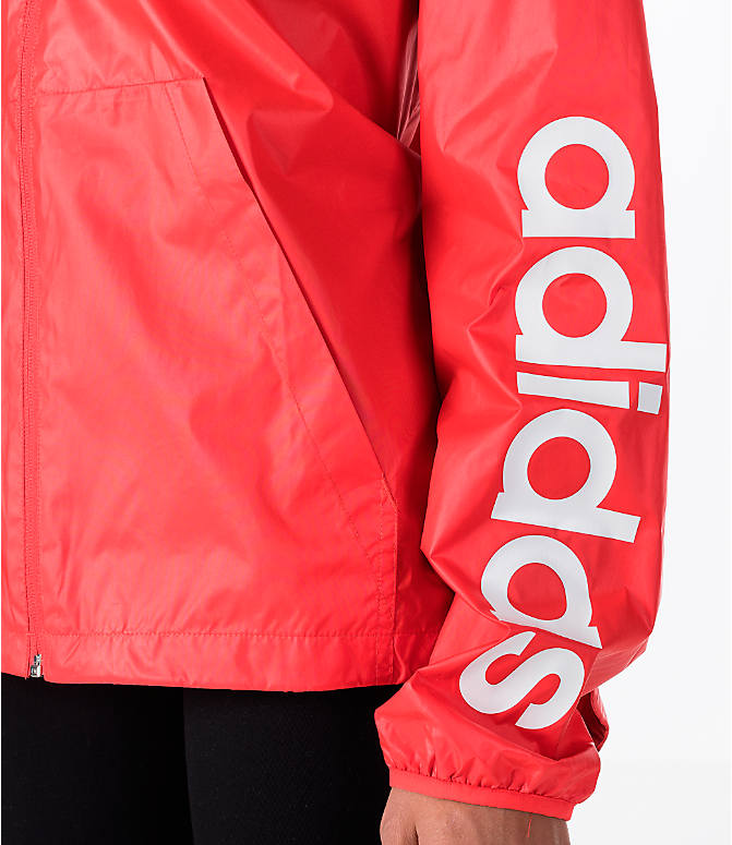 Detail 1 view of Women's adidas Linear Training Windbreaker Jacket in Coral/White