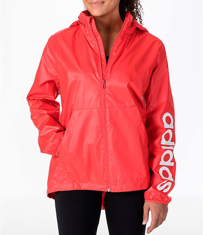 Front view of Women's adidas Linear Training Windbreaker Jacket in Coral/White