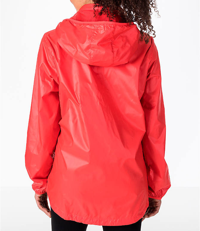 Back Left view of Women's adidas Linear Training Windbreaker Jacket in Coral/White