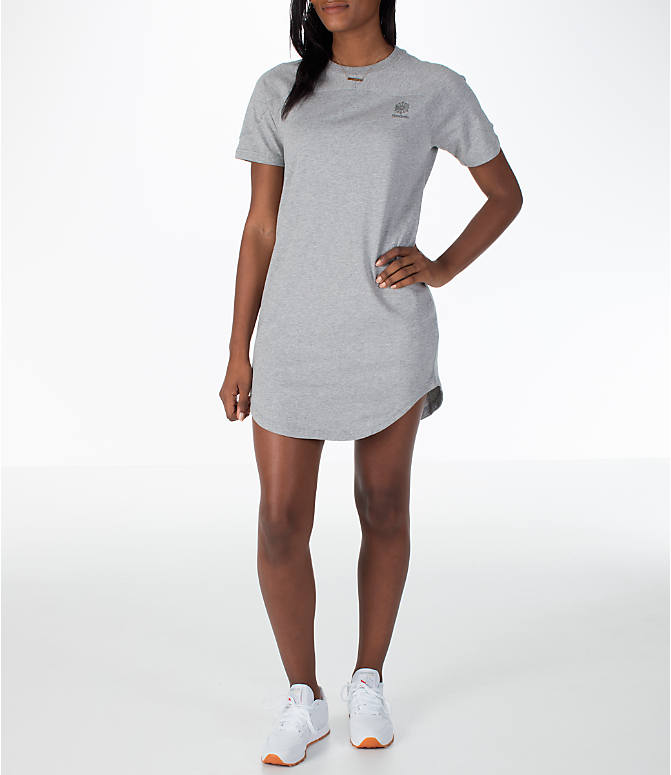 Front view of Women's Reebok Classics T-Shirt Dress in Grey