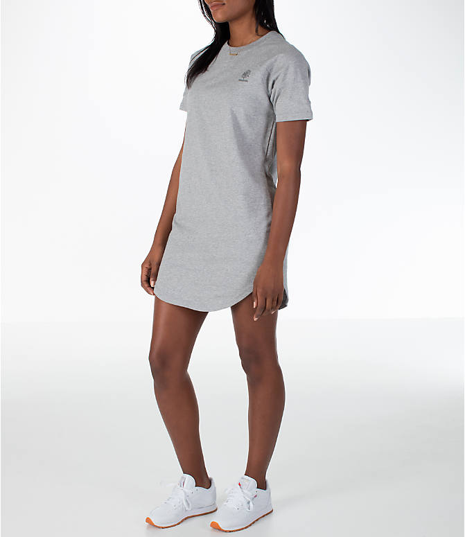 Front Three Quarter view of Women's Reebok Classics T-Shirt Dress in Grey