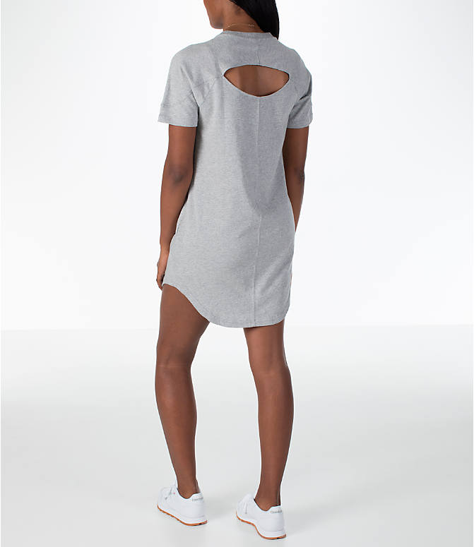 Back Left view of Women's Reebok Classics T-Shirt Dress in Grey