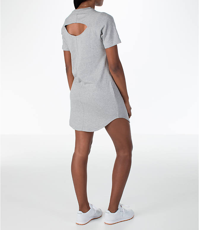 Back Right view of Women's Reebok Classics T-Shirt Dress in Grey