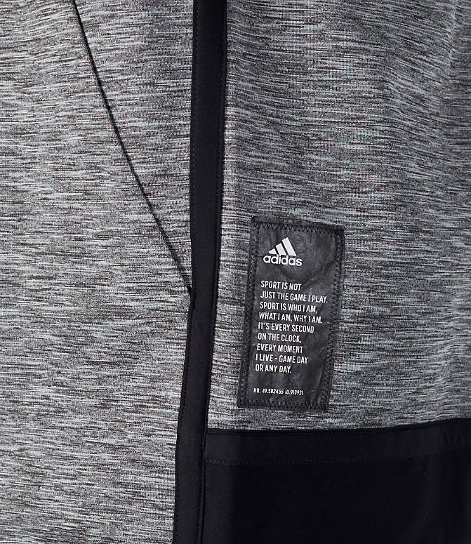 Detail 2 view of Men's adidas Sport Z.N.E. Reversible Hoodie in Black/Grey Storm Heather