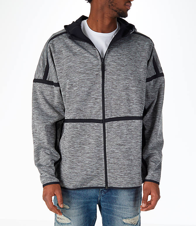 Front view of Men's adidas Sport Z.N.E. Reversible Hoodie in Black/Grey Storm Heather
