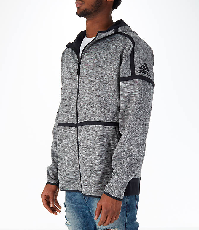 Front Three Quarter view of Men's adidas Sport Z.N.E. Reversible Hoodie in Black/Grey Storm Heather