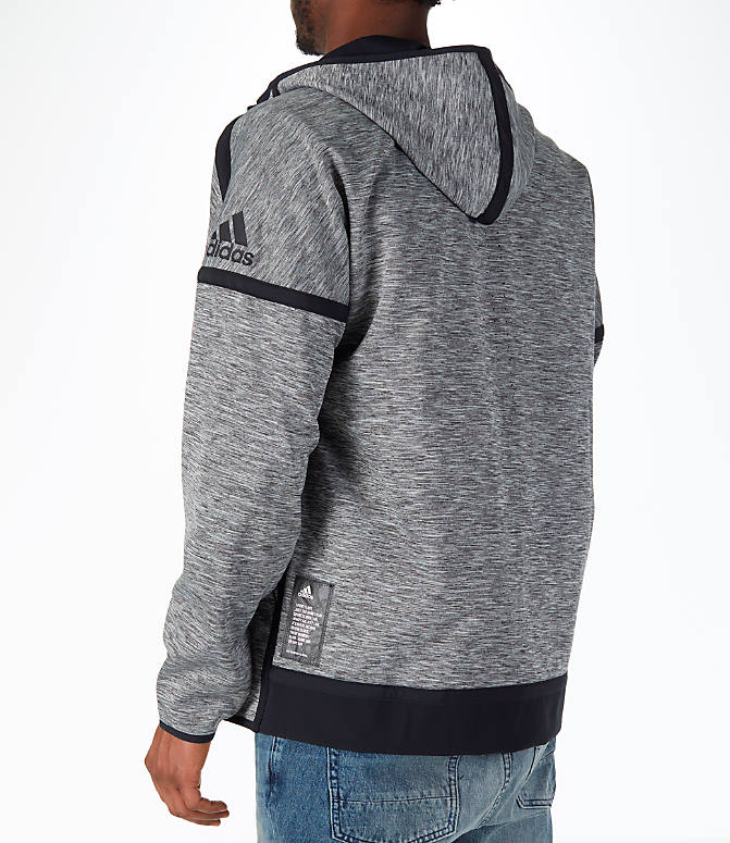 Back Left view of Men's adidas Sport Z.N.E. Reversible Hoodie in Black/Grey Storm Heather