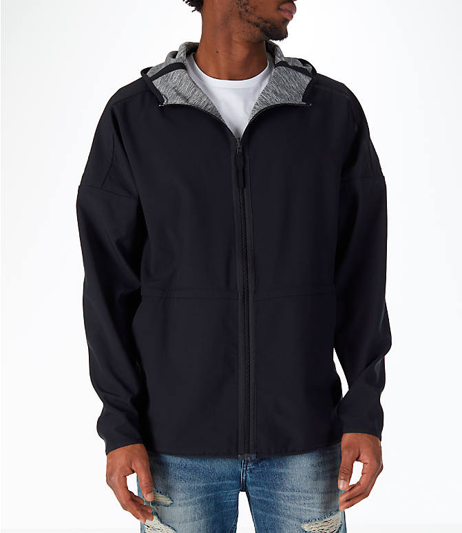 Back Right view of Men's adidas Sport Z.N.E. Reversible Hoodie in Black/Grey Storm Heather