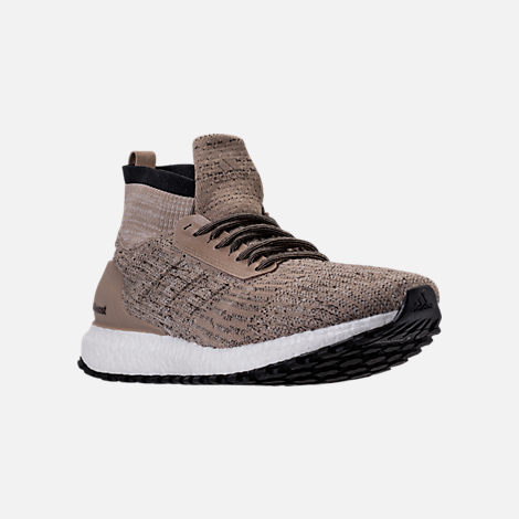 Three Quarter view of Men's adidas UltraBOOST ATR Mid LTD Running Shoes in Trace Khaki/Clear Brown/White