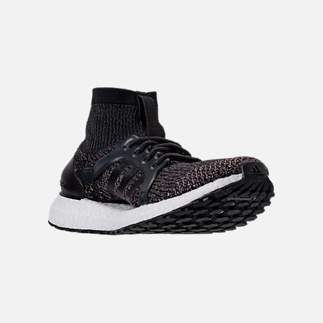 Three Quarter view of Women's adidas UltraBOOST X ATR LTD Running Shoes in Black/White