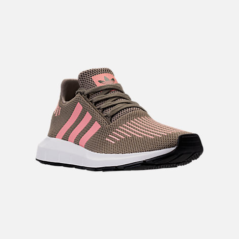 Three Quarter view of Women's adidas Swift Run Primeknit Casual Shoes in Trace Cargo/Trace Pink/White