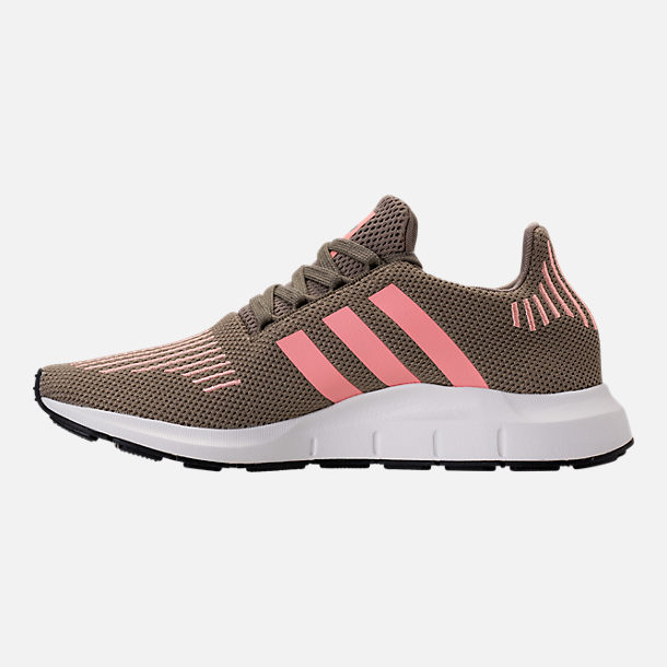 Left view of Women's adidas Swift Run Primeknit Casual Shoes in Trace Cargo/Trace Pink/White