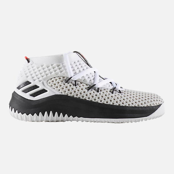 Right view of Boys' Preschool adidas Dame 4 Basketball Shoes in White/Black/Scarlet
