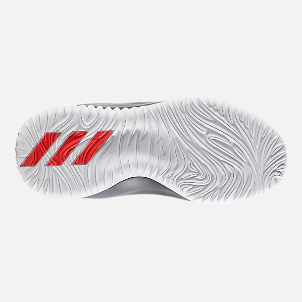 Bottom view of Boys' Preschool adidas Dame 4 Basketball Shoes in White/Black/Scarlet