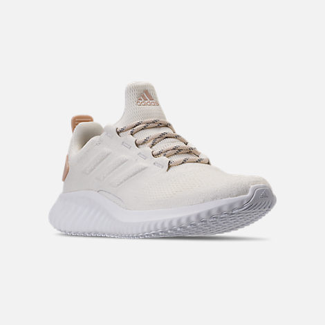 Three Quarter view of Women's adidas AlphaBounce City Running Shoes in Off White/Ash Pearl
