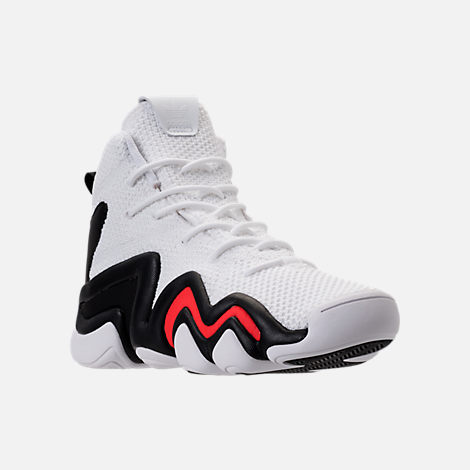 Three Quarter view of Boys' Grade School adidas Crazy 8 ADV Basketball Shoes in White/Core Black/Hi Res Red