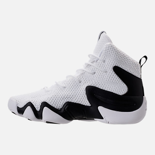 Left view of Boys' Grade School adidas Crazy 8 ADV Basketball Shoes in White/Core Black/Hi Res Red