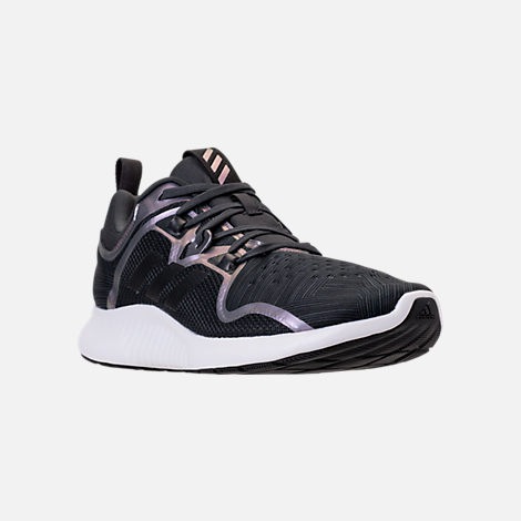 Three Quarter view of Women's adidas Edge Bounce Running Shoes in Carbon/Core Black/Night Metallic