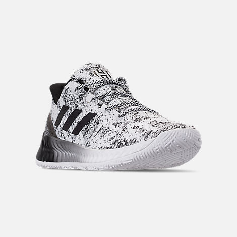 Three Quarter view of Men's adidas Harden B/E X Basketball Shoes in Cloud White/Core Black/Grey